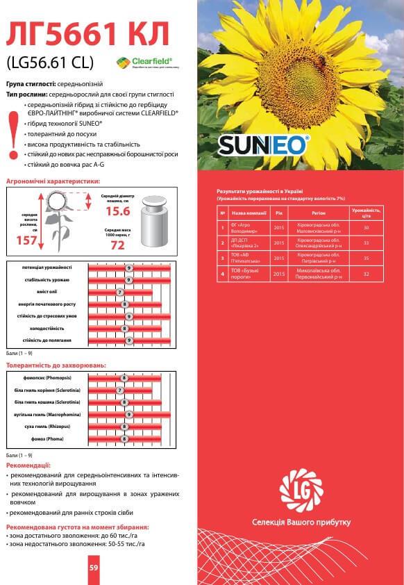 Семена подсолнечника ЛГ 5661 цена