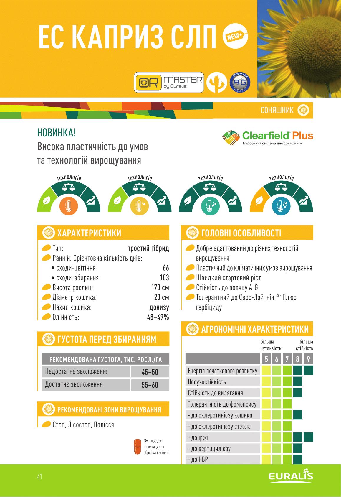 Купить Семена подсолнечника ЕС КАПРИЗ